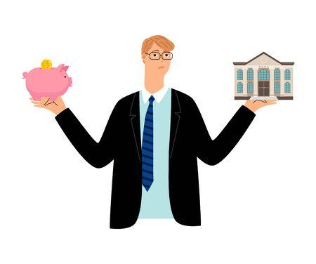 Budget planning. Businessman choose between piggy bank and bank. Financial problem, saving money and investment vector illustration Illustration