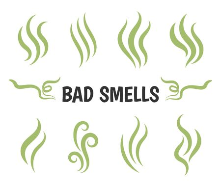 Bad smells. Isolated smoke icons, aromas vaporizer. Hot aroma, stink or cooking steam symbols, smelling or vapor, smoking or odors vector signs