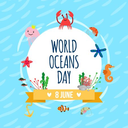 World oceans day poster. Vector banner with wild sea animals and plants Иллюстрация