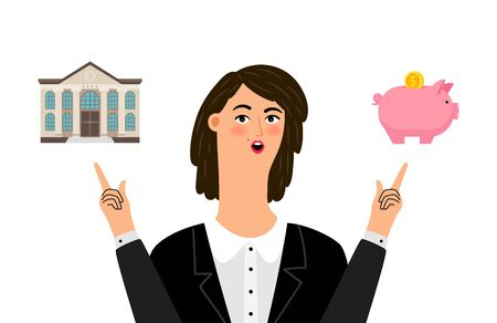 Budget planning. Woman choose between bank and piggy bank. Investment, self finance vector illustration Stock Illustratie