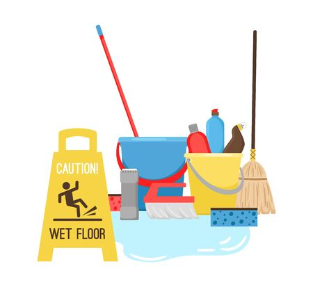 Cleaning, equipment for cleaning and mopping. Puddle and sign wet floor. Mop, bucket and sponge vector elements