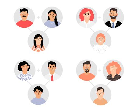 Genetic modeling of family. Genetics, similarity of parents and children. Family avatars vector set