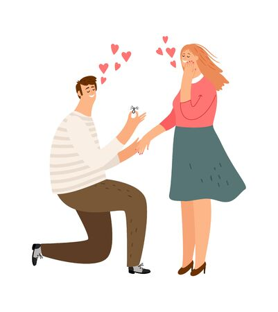 Proposal. Man loves woman. Guy makes girl an offer. Get married, boy gives a ring to a happy female vector character