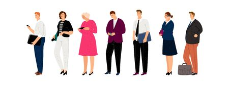 Business characters. Isolated man woman with smartphones and documents. Businesspeople waiting line vector illustration