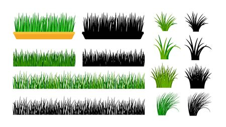 Green grass. Bushes, spring meadow and planting in pot. Isolated black silhouettes of grass, vector gardening elements