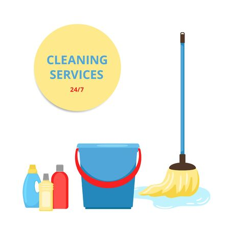 Cleaning service. Mop, bucket and cleaning products. Clean apartment or office vector banner