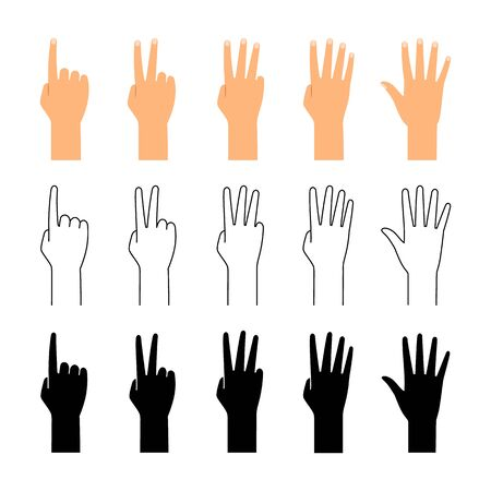 Finger count. Hand counting isolated on white background. People finger numbers countdown vector set  イラスト・ベクター素材