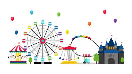 Amusement park. Recreation and entertainment, tents, castle. Balloons in sky, swing vector banner
