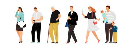 Different people line. Young father, cute girl and old man. Isolated persons queue vector illustration