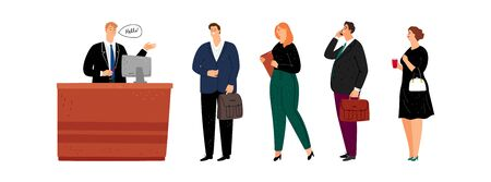 People queue on reception. Businessmen and women in service waiting line. Administrator or male secretary and crowd of businesspeople vector illustration Vectores