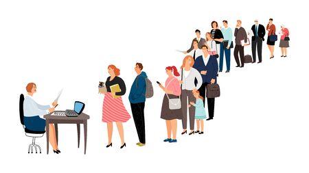 Les gens font la queue. Centre de service, point d'information ou réception. Femme homme personnes âgées en attente d'illustration vectorielle en ligne Vecteurs
