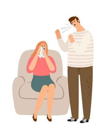 Man abusing woman. Young couple quarrel, guy screaming and girl crying. Family violence vector illustration Illustration