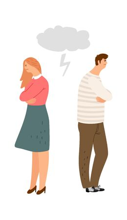 Spouses offended by each other. Husband and wife do not talk, family quarrel. Divorce or abusing vector illustration