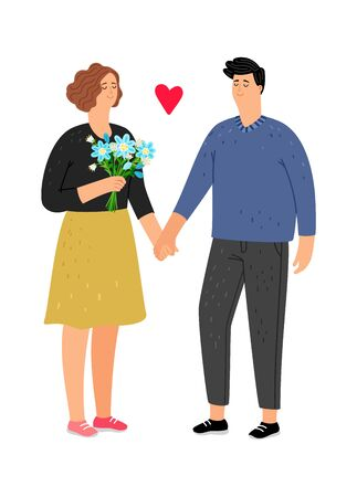 Teenager in love. First sympathy, guy and girl on date. Students in love, friendship or relationship vector illustration Çizim