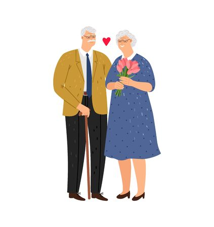 Elderly couple. Happy family, old spouses. Grandparents characters. Woman with flowers in love with husband vector illustration