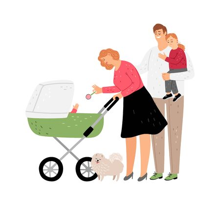 Family walking. Parents with kids, mother play with newborn baby. Isolated father holding daughter. Parenthood vector illustration