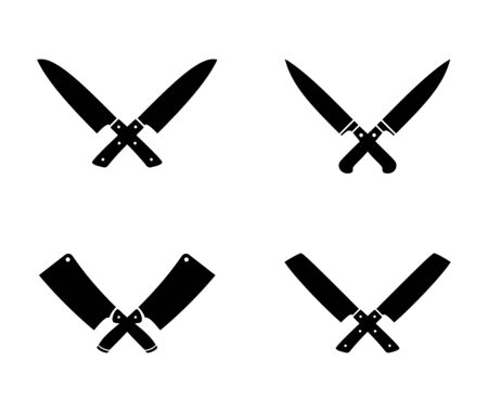 Crossed cleavers knives. Cleaver knife stamping vector illustration, chopping kitchen tools cross black icons, lumberjack and butcher cooking graphics