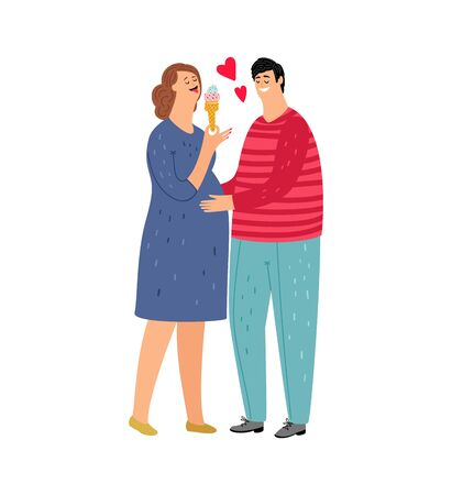 Pregnant woman. Couple in love, woman eat ice cream. Man hold wife, isolated flat young family vector characters