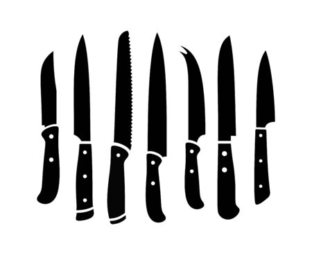 Kitchen knives black silhouettes. Sharp cooking knife set isolated on white background, vector stainless steel restaurant knifes for work and chef, prepared beef accessories