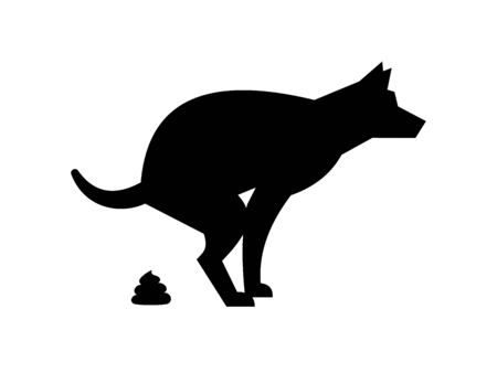 Poop dog silhouette. Dog pooping vector sign for warning symbol, black dogs poo pictogram isolated on white background