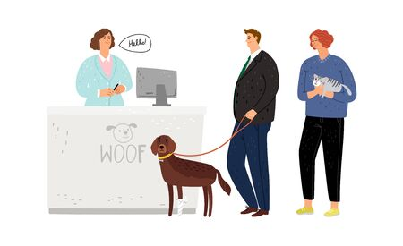 Veterinary hospital. Queue pet owners with dogs and cats. Animals medicine vector illustration Ilustracje wektorowe