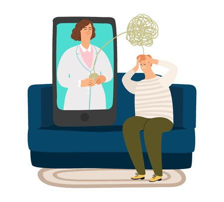Psychologist online. Psychotherapy doctor, confused thoughts and problems in man. Sad male sitting on sofa and consulting on telemedicine vector illustration