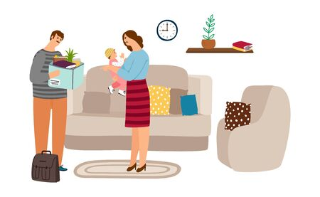 Family quarrel. Dismissed husband came home, his wife screams and hugs baby. Social unemployment problem, financial crisis. Mother daughter and father vector illustration