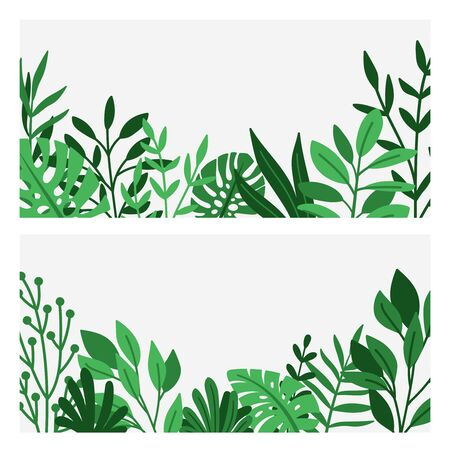 Green leaves and herbs border. Nature plants borders, vector summer garden edge background, botanical wildflowers foliage decoration illustration for banners and wedding invitations 向量圖像