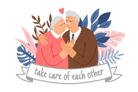Caring elderly couple. Happy grandparents take care of each other, cheering adults, cheerful old male and female portrait in love, smiling elderly seniors hug cartoon romance