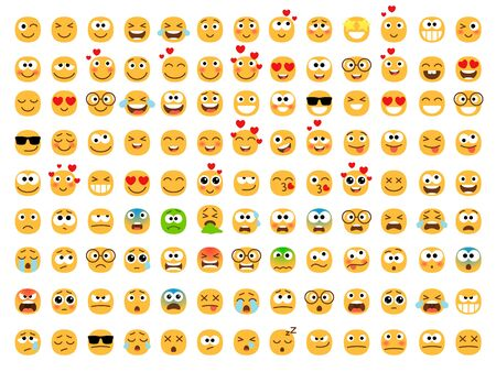 Emoticons yellow set. Smiling and sad, happy love eyes of balls, emotion circles icons, emojis with expressions funny vector illustration faces isolated on white background Vektorové ilustrace