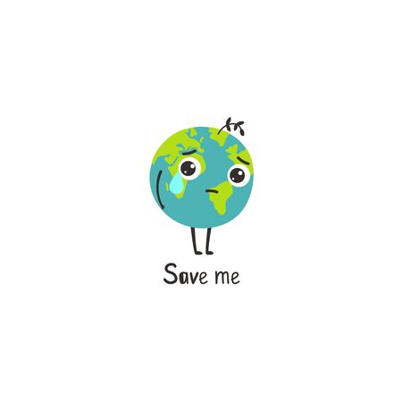 Sad planet. Cartoon Earth without forest and plants of environ cry and need help. Vector illustration problems of environment isolated on white background