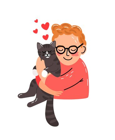 Cute cat hug. Little man hugging kitten, kid hands holding pet with love, vector illustration lovely family isolated on white background