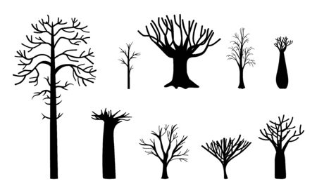 Naked tree. Winter trees silhouette, dead nature and empty black trunks. Simple dry branched forest plant vector illustration