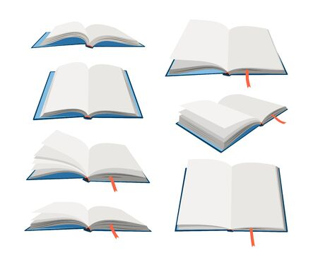 Empty open books set. Cartoon textbooks with bookmarks. Blank books in blue hardcovers. Vector illustration of book mockups isolated on white background  イラスト・ベクター素材