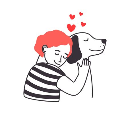 Boy and dog friendship. Young man cozy hugging cute dog with care and love, sketch acting loving between man and puppy isolated on white background, vector illustration