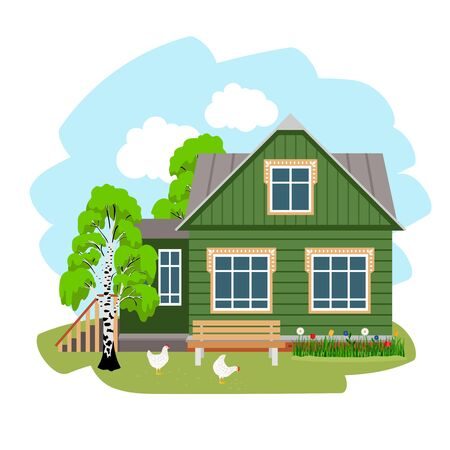 Summer house in village. Farm in the countryside, cartoon place of rest on nature in russian style, vector illustration of rural rustic housing for vacation isolated on white Banco de Imagens - 150543012