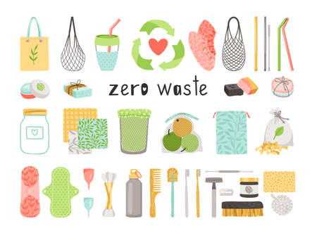 Zero waste. Cartoon durable and reusable natural ecology items for reduce plastic waste, linen bag and wooden toothbrush in eco friendly objects collection isolated on white backgro Ilustrace