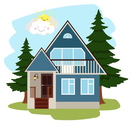 Summer country house. Cottage among green trees, cartoon house with door and flashlight in countryside, vector illustration of concept vacation on nature in farmland Ilustração