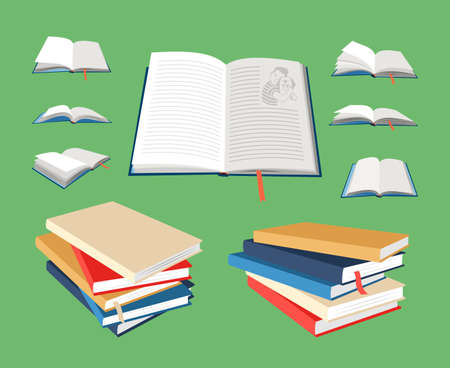 Closed and open books. Cartoon empty textbooks with bookmarks. Blank books in colored hardcovers. Vector illustration of book mockups isolated on green background