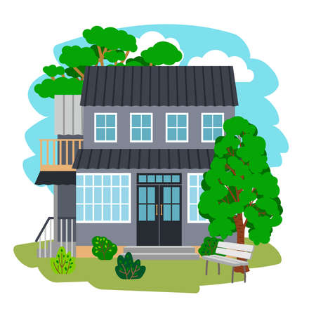 Summer cottage house. Cartoon modern beautiful housing for holiday among trees with green foliage, vector illustration of relax nature isolated on white background