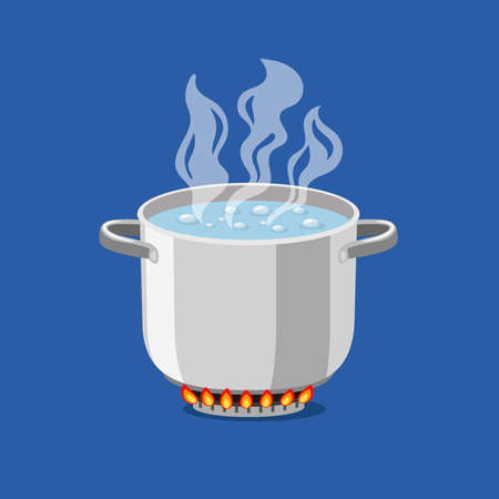 Pan on fire. Cartoon pot with hot boiling water, vector illustration of cooking object for kitchen on flaming gas isolated on blue background