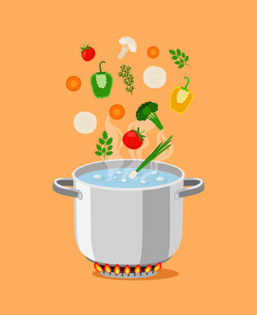 Pan with soup. Cartoon pot with boiling water and cooking ingredients, gas flaming burner for high temperature, vector illustration objects for kitchen
