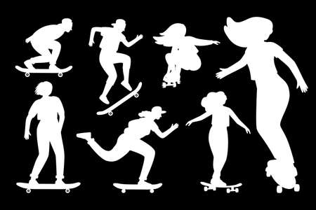 Silhouettes on skateboard. Cartoon white empty templates for stickers of person on longboards, concept of street extreme sport, young female outlines isolated on black background