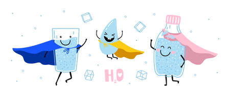 Water super heroes. Clean healthy drinks, cute smile eco lifestyle, h2o vector banner Ilustrace