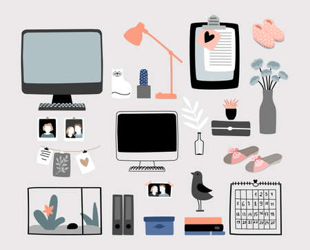 Cozy home accessories kit. Fluffy slippers, stationery, calendar lamp. Doodle computer monitor, lamp and cat vector set