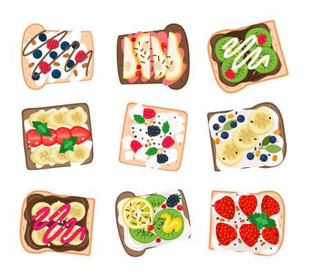 Fruit sandwich set. Cartoon burgers with fresh mint and bananas, lemon and kiwi, strawberries and pears, vector illustration of tasty hamburgers isolated on white background Çizim