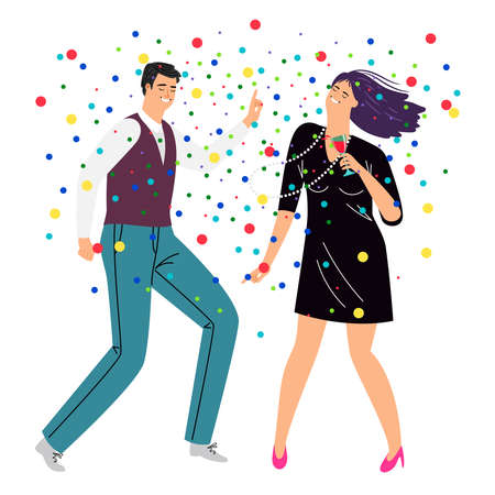 Dancing and drinking couple. Cartoon happy couple in trendy business costumes do dance in confetti, concept of celebrating lifestyle, vector illustration of rest by elegant persons