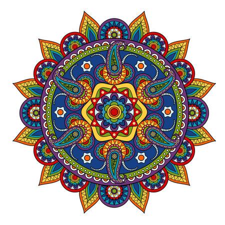 Round Paisley Pattern, circle vector element in Indian style Ilustración de vector