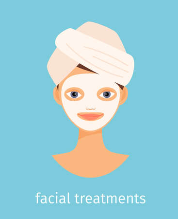Facial treatments vector illustration on blue background with text