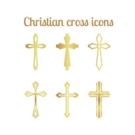 Golden christian cross Vektorové ilustrace